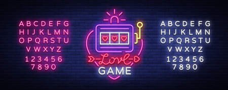 Love Game neon sign vector. Casino Slot Machines icon in the neon style