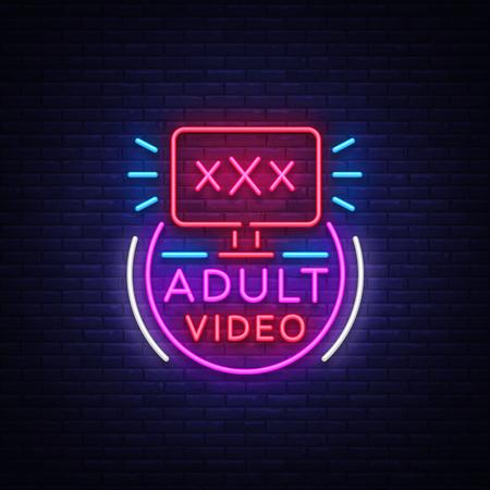 Insegna al neon video per adulti. Modello di progettazione, video al neon logo xxx, industria del sesso, banner di luce, pubblicità di luce intensa di notte. Illustrazione vettoriale