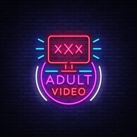 Adult video neon sign. Design template, neon logo xxx video, sex industry, light banner, night bright light advertisement. Vector illustration. Çizim