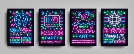 Nachtclub feestcollectie posters. Nacht feest, Neon teken, neon teken, discobal, muzikale nacht poster sjabloon, heldere neon reclame, concert, disco, festival. Vector illustraties