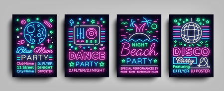 Nightclub party collection of posters. Night party, Neon sign, neon sign, disco ball, musical night poster template, bright neon advertising, concert, disco, festival. Vector Illustrations