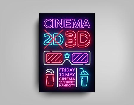 Cinema 3d poster design template in neon style. Neon Sign, Light Banner, Bright Light Flyer, Design Postcard, Promotional Brochure, Neon Night Cinema Advertising, Night Session. Vector Illustrations.