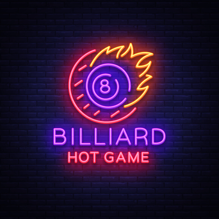 Billiards neon sign. Billiard Hot game logo in neon style, light banner, design template emblem night billiard, bright nightlife advertisement, design element for your projects. Vector illustration Ilustrace