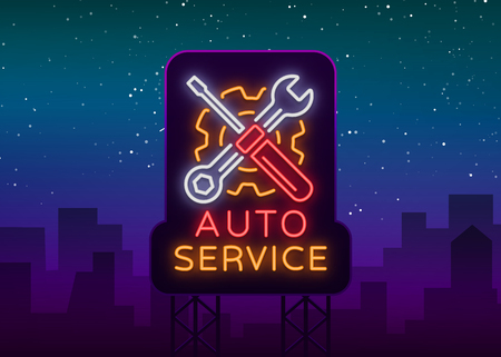 Car service repair icon vector, neon sign emblem. Vector illustration, car repair, shiny signboard for garage for auto repair. A flaming banner, a nightly bright signboard ad for your projects. 스톡 콘텐츠 - 97554530