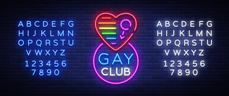 Gay club neon sign with its font set vector illustration