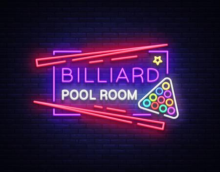 Billiard club neon sign vector illustration