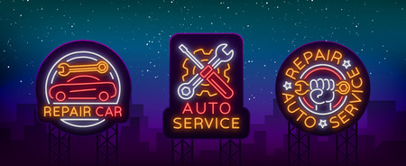 Auto service repair collection of logo in neon style. Set of neon sign, symbol on the topic of repairing cars. Emblem, bright banner sign, night bright advertising of auto repair. Vector illustration