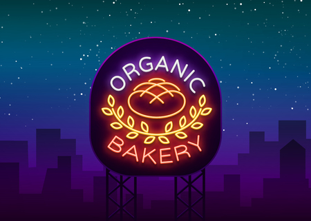 Bakery organic logo, fresh bread, loaf. Vector illustration on bakery, baking, confectionery. Natural baking. Neon sign, vivid advertising, luminous symbol for your projects. Vettoriali