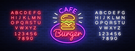 Burger cafe neon sign. Vector Illustrations