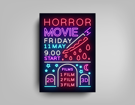 Horror movie postcard typography design neon template. Brochure in style neon, neon sign, colorful poster