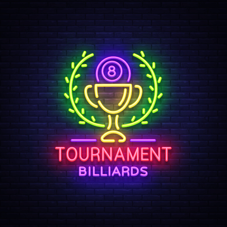 Billiards Tournament logo in neon style. Neon sign Design Template for Billiard Club, Bar, Light Banner, Night Neon Advertising, Design Element, Bright Flare. Vector illustration  イラスト・ベクター素材
