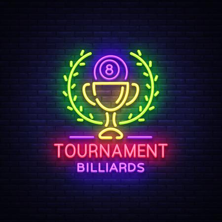 Logo del torneo di biliardo in stile neon. Modello di disegno di insegna al neon per biliardo club, bar, banner di luce, pubblicità al neon di notte, elemento di design, bagliore luminoso. Illustrazione vettoriale Archivio Fotografico - 97620904