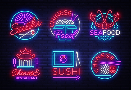 Collection neon signs Food. Set Logos in neon style Sushi, Seafood, Lobster, Chinese food, light emblem, night neon advertising for restaurant, snack bar, cafe, bar, dining room. Vector illustration Illustration