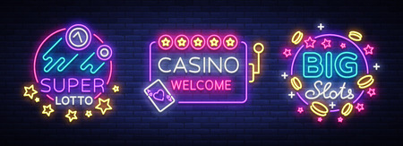 Casino set of icons in neon style. Design template. Neon sign collection