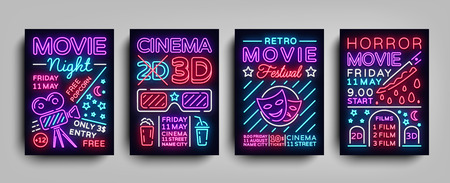 Movies 3d collection posters design templates in neon style. Set neon sign, light banner, bright flyer, design typography postcard, brochure, advertising neon night for Cinema. Vector Illustrations 向量圖像