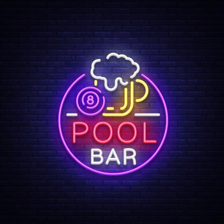 Pool bar logo in neon style. Neon sign design template for Billiard bar, club, beer and billiard light banner, night neon advertisement, design element, bright flyer. Vector illustration.