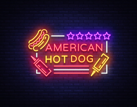 Hot dog logo in neon style design template. Hot dog neon signs, light banner, neon symbol fast food emblem, American food, bright night advertising. Vector illustration