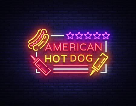 Logotipo de hot dog en plantilla de diseño de estilo neón. Letreros de neón para perros calientes, pancarta ligera, símbolo de neón emblema de comida rápida, comida americana, publicidad nocturna brillante. Ilustración vectorial Logos