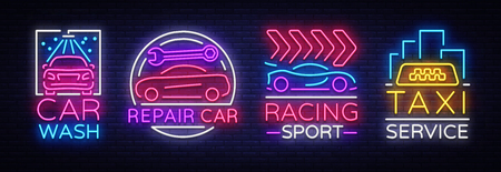 Collection neon signs Transport. Neon logo emblems, Taxi service, Car wash, auto service, car repair, street racing. Design template, light banner, nightly neon advertising. Vector Illustrations Çizim