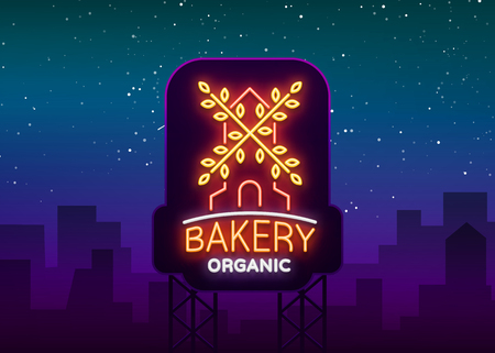 Bakery organic logo, fresh bread, loaf. Vector illustration on bakery, baking, confectionery. Natural baking. Neon sign, vivid advertising, luminous symbol for your projects. 일러스트