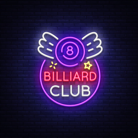 Billiard club neon sign. Design template Bright neon emblem, logo for Billiard Club, Bar, Tournament. Light banner, night sign for your projects. Vector Illustrations  イラスト・ベクター素材