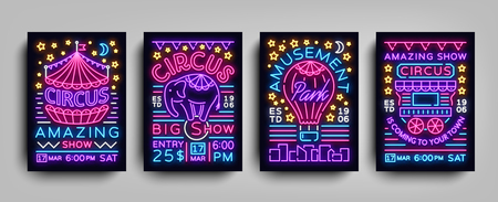 Circus collection of posters design templates neon style. Circus set of neon signs, tent, elephant, amusement park, light banner, neon flyer, advertising of Circus performances. Vector illustration Illusztráció