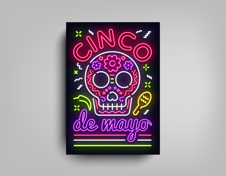 Sinco de Mayo poster design neon style template. Neon sign, bright light neon flyer, light banner, typography, Mexican holiday. Invitation to party, festival, celebration, fiesta. Vector illustration Çizim