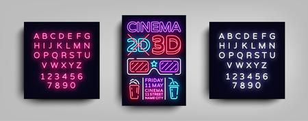 プレーンな背景にシネマ3Dポスターデザインテンプレートネオンスタイルベクターイラスト