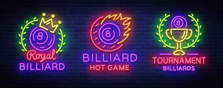 Collezione di biliardo di logos neon stile illustrazione vettoriale su sfondo chiaro Archivio Fotografico - 97986889
