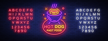 Hot Dog neon sign vector.