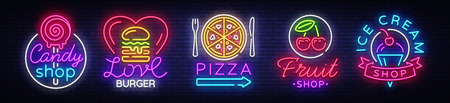 Big collection neon signs on theme food. Set Neon signs Burger, Sweets, Pizza, Fruits, Ice cream shop, Candy shop. Neon banner, light emblem logos. Vector illustration.