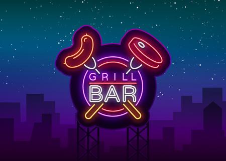 Grill bar logo concept de conception dans le vent. illustration Banque d'images - 98258949