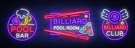 Set of bright billiards neon emblem illustration. Illustration