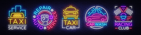 Set of transportation logo concept design in neon illustration.