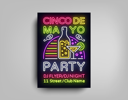 Cinco De Mayo poster concept design in neon illustration.