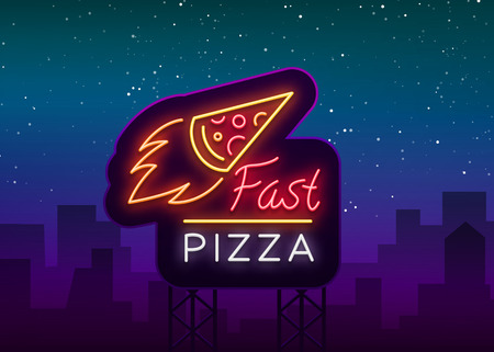 Pizza logo emblem neon sign. Logo in neon style, bright neon sign with Italian food promotion, pizzeria, snack, cafe, bar, restaurant. Illustration