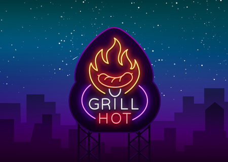 Grill logo in a neon style. Vector illustration on the theme of food, meat of the same.
