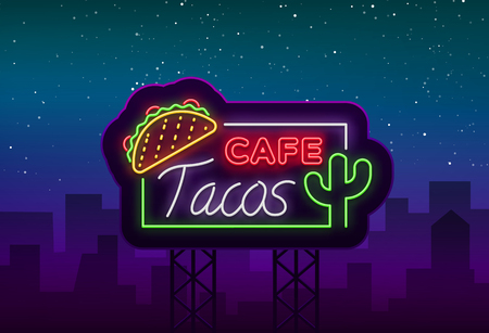 Tacos logo in neon style. Neon sign, symbol, bright billboard, nightly advertising of Mexican food Taco. 스톡 콘텐츠 - 98036296