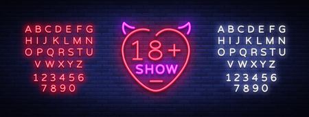 adult show neon sign. Bright night banner in neon style, neon billboards for advertising adult shows, adult shop, intimate services, adult shows. Vector illustration. Editing text neon sign.