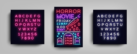 Horror movie postcard typography design neon template. Brochure style neon, neon sign, poster, banner light, night bright advertising on movies, cinema. Vector Illustrations. Editing text neon sign