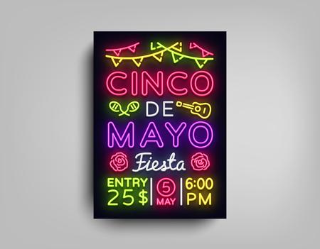 Cinco de Mayo海报在霓虹灯风格。设计模板传单邀请庆祝cinco de mayo,小册子霓虹灯风格横幅光,排版墨西哥庆祝党。矢量图。