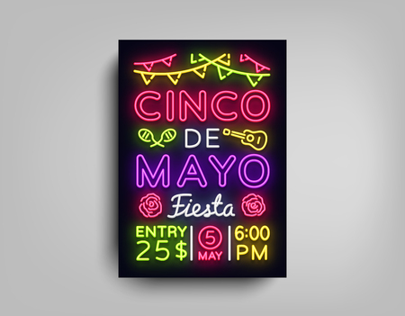 Cinco De Mayo Poster in neon style. Design Template Flyer invitation to celebrate Cinco de Mayo, brochure neon style banner light, typography Mexican Fiesta celebration party. Vector illustration. Illustration