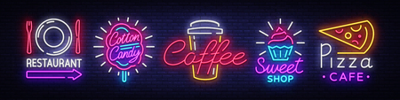 Big collection neon signs on theme food. Set neon signs Restaurant, Sweets, Pizza, Fruits, Cotton Candy, Coffee. Neon banner, light logo emblems, nightly vibrant advertising. Vector illustration. Vettoriali