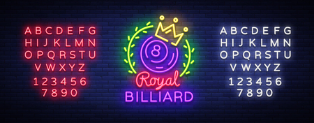Billiards neon sign. Royal Billiards logo in neon style, light banner, design template emblem night billiard, bright nightlife advertisement, design element. Vector. Editing text neon sign.