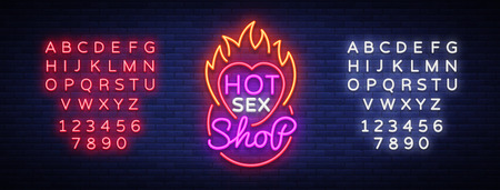 Shop icon in neon style. Design pattern, hot sex shop neon sign, light banner on the theme of sex industry, bright neon advertising for your projects, vector illustration. editing text neon sign. Stock Vector - 98215224