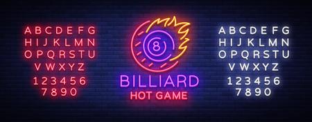 Billiards neon sign, hot game icon in neon style, light banner, design template emblem night billiard, bright nightlife advertisement, design element vector. Editing text neon sign. Illustration