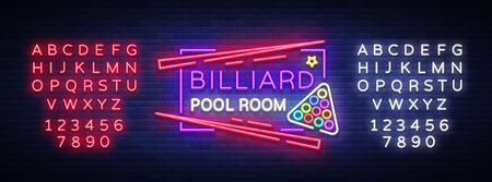 Billiard club neon sign. Billiard pool room Design template Bright neon emblem,Bar, Tournament. Light banner, night sign. Vector Illustrations. Editing text neon sign