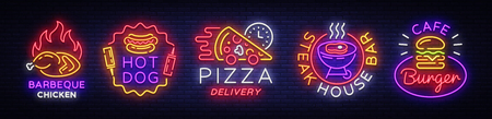 Big collection neon signs on theme food. Vector. Set bright food emblems, Neon food symbols, design template, Barbeque chicken, Hot Dog, Pizza Delivery, Steak House Bar, Burger Cafe.