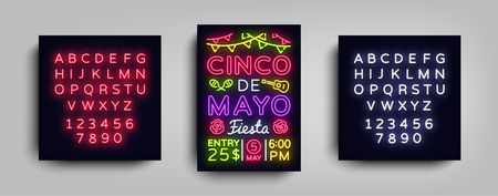 Cinco de Mayo海报在霓虹灯风格。设计模板传单邀请庆祝cinco de mayo,横幅光,排版墨西哥庆祝活动党。矢量图。编辑文本霓虹灯符号。