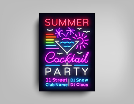 Cocktail Party poster neon. Flyer template design in neon style. Summer Cocktail Party Dance Invitations, Light Banner, Bright Brochure Nightlife, Nightly Neon Advertising. Vector illustration.